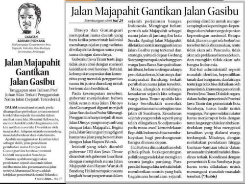 Adrian Perkasa, Jalan Majapahit Gantikan Jalan Gasibu