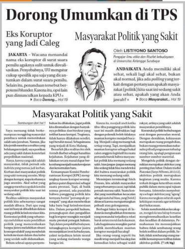 Listiyono - Masyarakat Politik yang Sakit