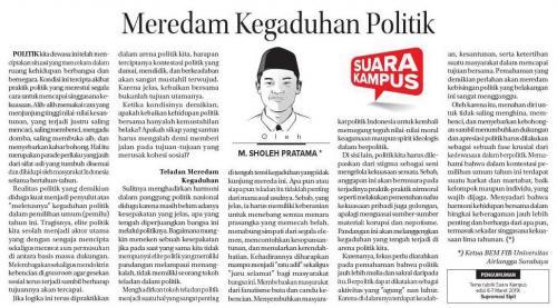Meredam Kegaduhan Politik - M. Sholeh Pratama