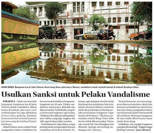Usulkan Sanksi untuk Pelaku Vandalisme - Adrian Perkasa