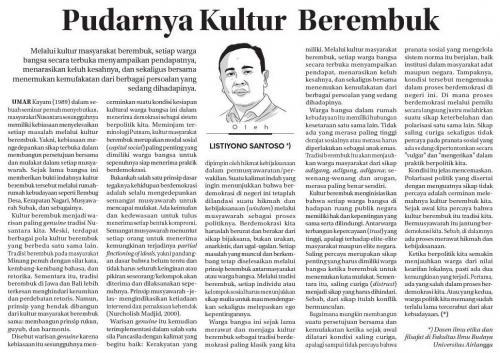 Pudarnya Kultur Berembuk - Listiyono Santoso